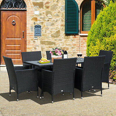7 Pieces Patio Rattan Dining Set Wicker Furniture Slat Top Table Backyard