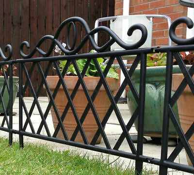 Lattice Style Border Fencing Black Decorative Garden Lawn Grass Edging Panels