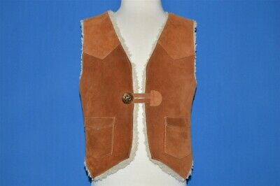 vintage 70s SEARS LEATHER SHERPA LINED SUEDE HIPPY VEST BROWN TODDLER 3T