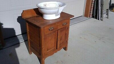 antique wash stand Butternut Wood refinished Bathroom Vanity ready to install