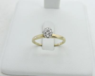 14K Yellow GOLD .25 Ct Round Diamond Solitaire Engagement Ring Size 6