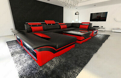BIG SECTIONAL SOFA Atlanta U Shape Design Sofa Genuine Leather with LED  Lights