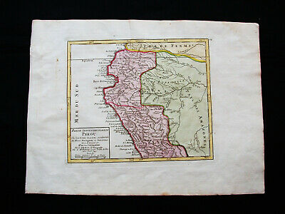 1749 VAUGONDY - orig. map: SOUTH AMERICA, ECUADOR, PERU, LIMA, QUITO, COLOMBIA