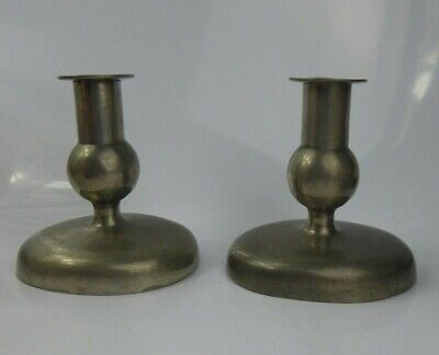 Antique Pewter Candlesticks Signed & Dated H.R LONDON 1797 - 18th/19th century