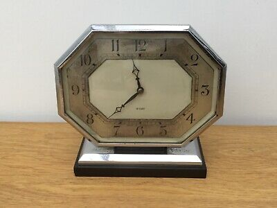 Vintage Working 1930's Chrome & Bakelite ART DECO 8 Day Wind Up Mantle Clock