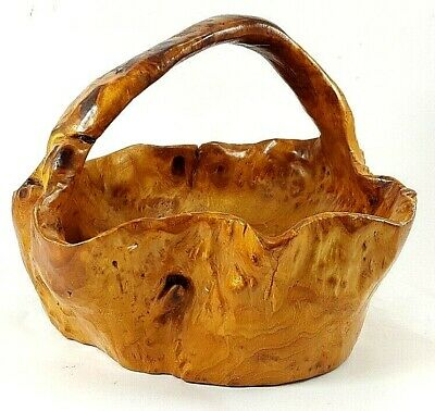 VINTAGE LARGE BURL WOOD Bowl Basket Hand Carved W/Handle BIRDSEYE BIRCH Folk Art