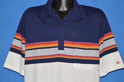 6d652cbef vintage 80s HOBIE STRIPED RAINBOW SURF SURFING WHITE BLUE POLO SHIRT TALL  XLT