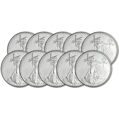 TEN (10) 1 oz. Highland Mint Silver Round - Saint-Gaudens Design .999+ Fine