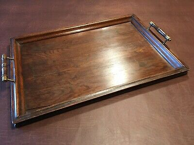 Antique / Vintage Wood & Brass Galleried Butler's Serving Drinks Tray - Waxed