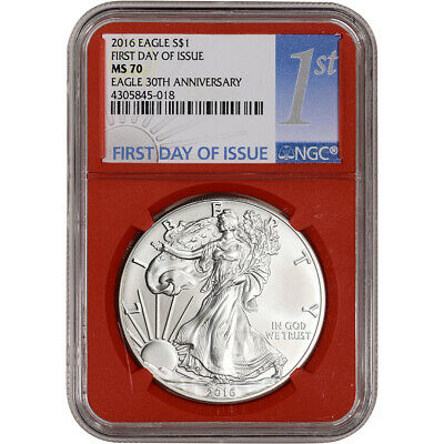 2016 American Silver Eagle - NGC MS70 First Day Issue 1st Label Red Core Holder