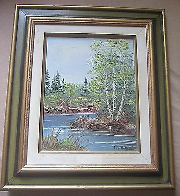 Framed Oil On Canvas Beautiful Birch Trees Ontario Water Way Signed