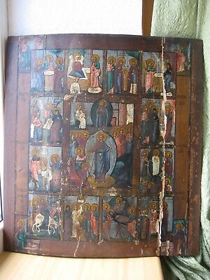 Ikone,Icona Russa,Antique Russian Orthodox icon,,Church Feasts,,from 19c.