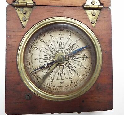 Antique Georgian Small Wooden Cased Pocket Compass - C04