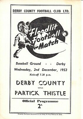 DERBY COUNTY v Partick Thistle, 2nd December 1953, Friendly