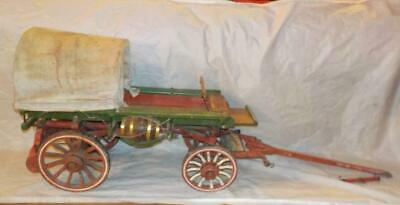 Excellent Quality Vintage Hand Made Wooden Half-Covered Wagon Model By H.travis