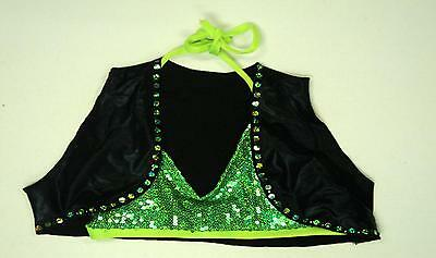 Flashy Bright Neon Lime Green Solo Duet Dance Costume Halter Top - FLASH SALE