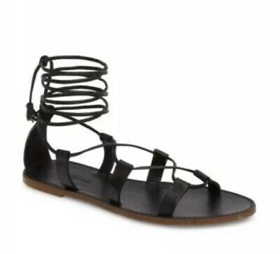 bf402ecb353 MADEWELL The Boardwalk Black Flat Leather Lace Up Gladiator Sandals- Size 8M