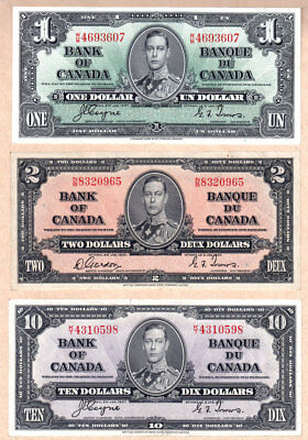 1937 $1, $2 & $10 Bank of Canada notes with KGVI portrait. No Reserve Auction