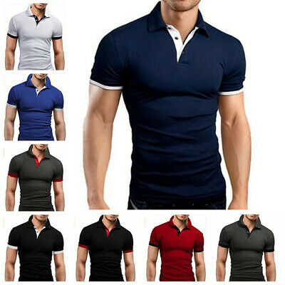 Men's Slim Fit Shirts Short Sleeve Casual Gol T-Shirt Jersey Tops Muscle Tee Top