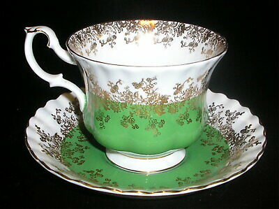 Vintage Royal Albert Green Regal Series Bone China Tea Cup & Saucer MINT