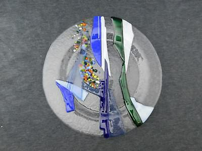 """10"""" Abstract Fused Dichroic Art Glass Plate Sailboat"""