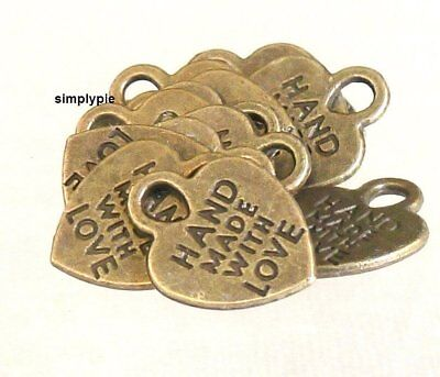 ++ Heart Antiqued Brass Hand Made with Love Charms 10 Pcs