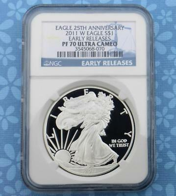 2011 W NGC Proof 70 Ultra Cameo Early Release Silver Eagle Dollar, 1 oz Silver