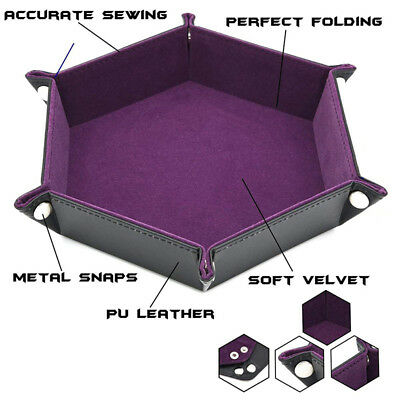 Table Tray Folding Hexagon PU Leather Button Solid Multi Color Dice Storage B