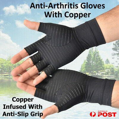 Copper Anti Arthritis Compression Gloves Hand Support Finger Pain Relief Pair A2