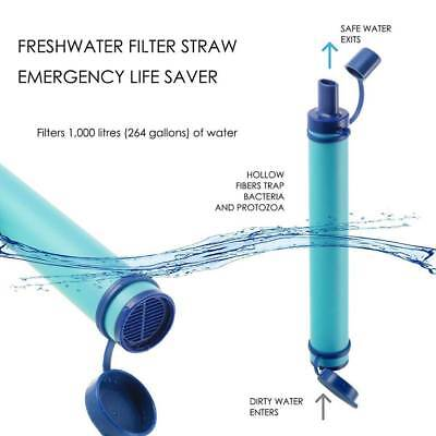 Military 99.99% Water Filter Purification Emergency Gear Straw Camping Hiking