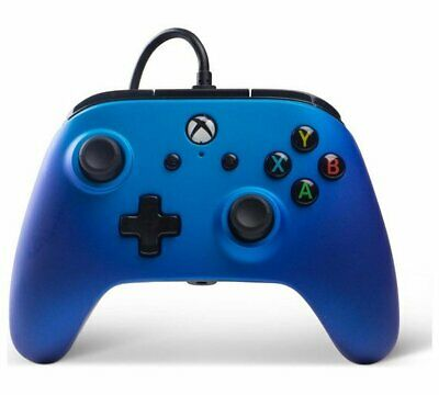 Enhanced Wired Controller for Xbox One - Sapphire Fade Dual Rumble Motors NEW_UK