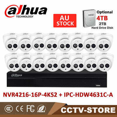 DAHUA 16CH 4K NVR NVR4216-16P-4KS2+ 6MP Dome MIC IP IR Camera IPC-HDW4631C-A KIT