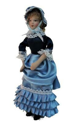 Dolls House Victorian Lady Frilly Blue Dress Miniature Porcelain People