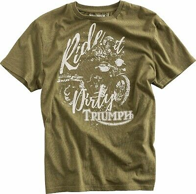 GENUINE Triumph Motorcycles Dirt Track Khaki Green T Shirt 33% OFF RRP NEW