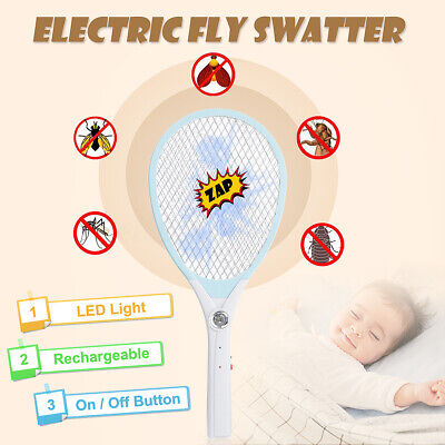 LED Electric Bug Fly Mosquito Killer Insects Bat Swatter Racket USB Rechargeable