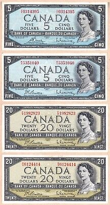 1954 QE2 Bank of Canada Lot, $68 Face Value (2 x $20, 2 x $5, 6 x $2, 6 x $1)