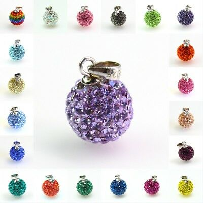 Sparkle Czech Crystal Disco Ball Silver Charm Pendant 10mm 14mm Fit Necklace