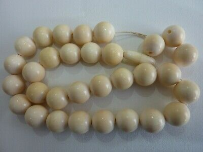 Antique Chinese Round Carved Bovine Bone Bead Necklace Weighs 67.5 Grams.