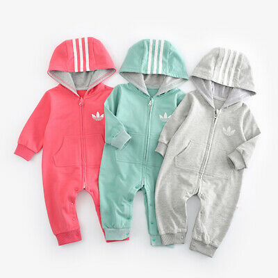 2019 New Baby Boys Girls Hooded Romper Toddler Long Sleeve Zip Jumpsuit Outfits