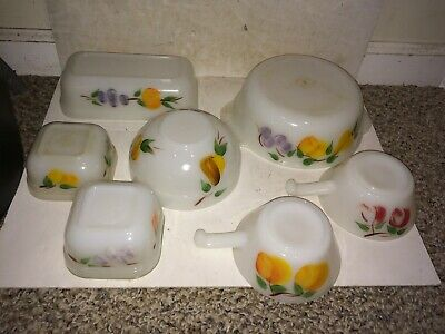 7 Vintage 40s/50s Fire-King Gay Fad Mixing Bowl,Soup,Casserole,Box,Hand Painted