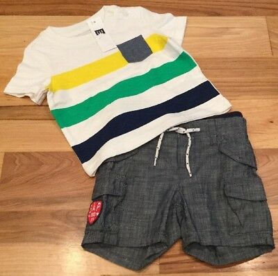 Nwt Baby Gap Boys 18-24 Month Outfit Navy Blue /& Gray Striped Shirt /& Pants
