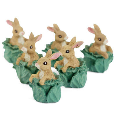 Set of 6 Miniature Resin Bunny in Cabbage Head Figurines - Easter Table Favors