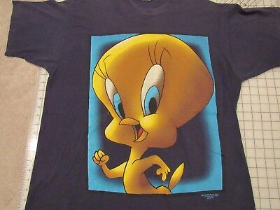 Vtg 1996 TWEETY BIRD Huge Print T-SHIRT Men XL Blue Looney Tunes Cartoon 1990s