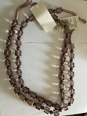 One pair brown acrylic beaded curtain tiebacks with brown pearls 30 inches long