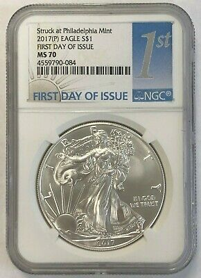 2017-P Silver American Eagle 1Oz Ngc Ms70 First Day Of Issue