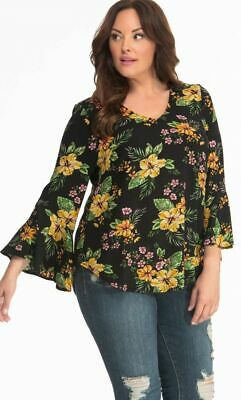 e7a21c3202ac3 Kiyonna Women s Top 1X Floral Ellie Crepe Style Bell Sleeves Plus Size Made  USA