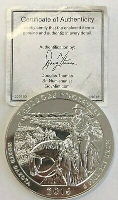 2016 Theodore Roosevelt America Beautiful ATB 5 Oz .999 Silver Coin with COA