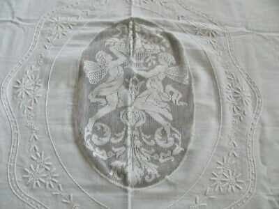 Elegant white on white linen bedspread cupid rose lace insets embroidery