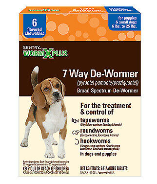 Sentry Worm X Plus 7 Way Broad Spectrum De-Wormer Puppies / Small Dogs 6-25lb 6p