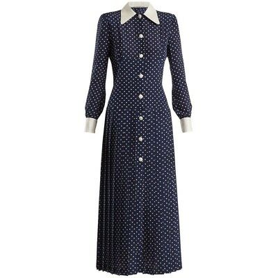 Womens fashion summer vintage long sleeve navy polkadot dress UK Stock Size 8
